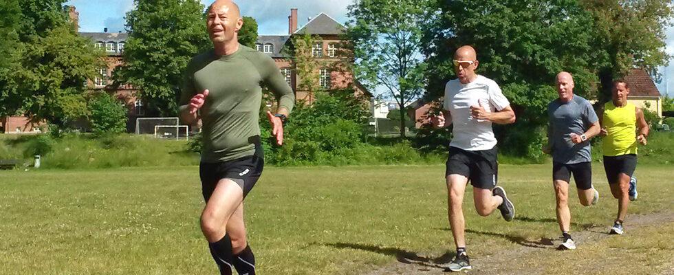 4 løbere på græs på Excerserpladsen