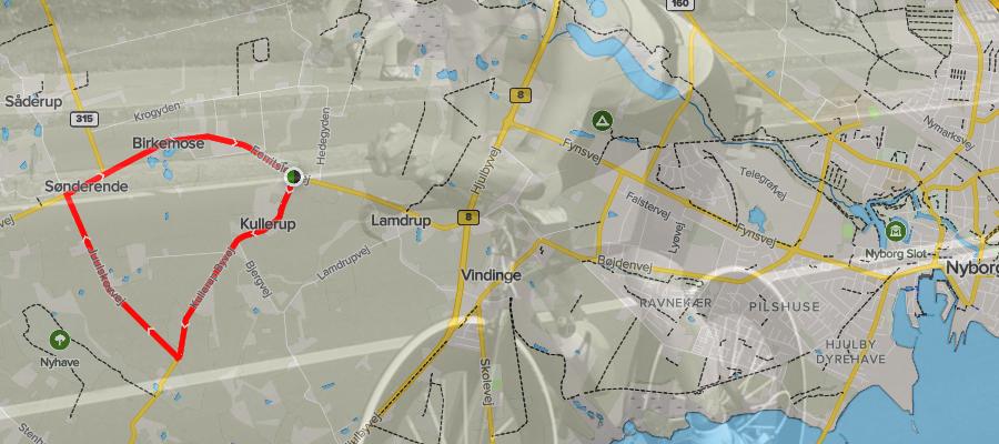 Kulleruprunden på næsten 6 km cykles 4 gange