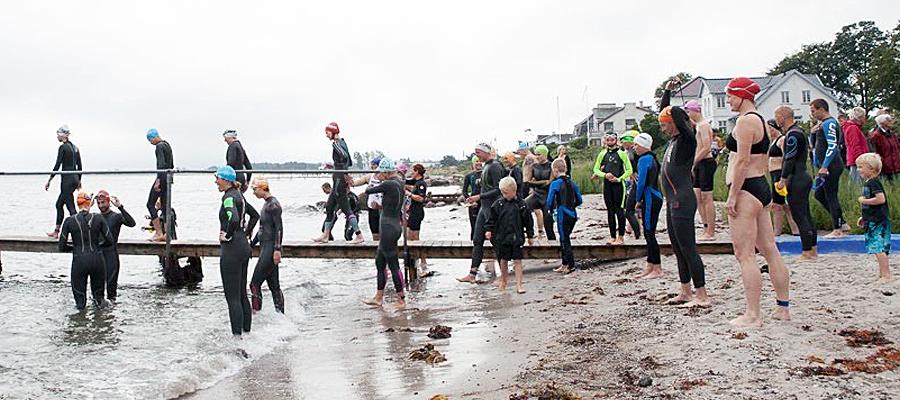Svømmere i våddragt klar på stranden i Nyborg